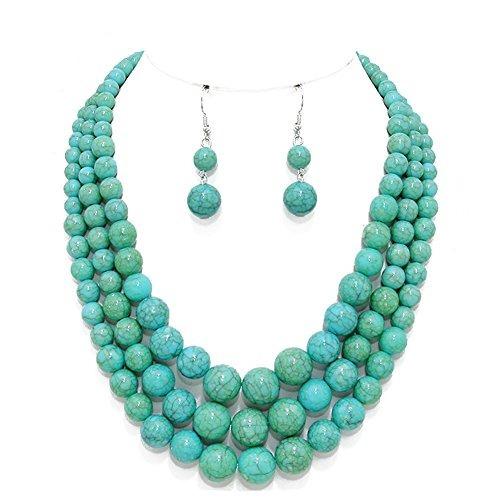 9a047de7246f Collar De Perlas Graduadas Howlite 3 Strand Azul Turquesa