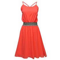 Vestido Con Tirantes Bordado Dama Mujer Naranja 9647 Zoara
