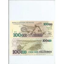 Cedula 100000 Cem Mil Cruzeiros C/ Carimbo 12.00 - Fé