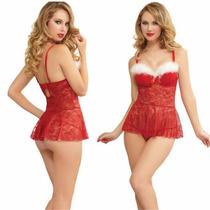 Baby Doll Lenceria Disfraz Navidad Vestido Corto [rojo]#506