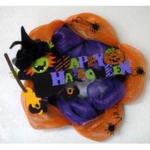Halloween Corona Vara Sombrero Bruja Arañas Día De Muertos