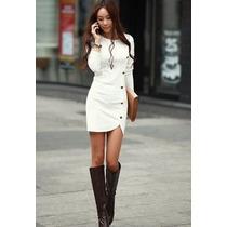 Vestido Con Botones Casual Elegante Moda Japonesa 5114