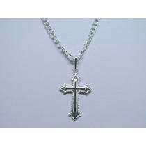 Promoção Corrente Cordão 70cm Prata 925 + Pingente Crucifixo
