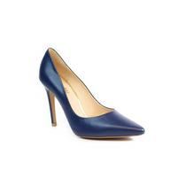 Trender Zapatilla Stiletto Azul Marino De Piel