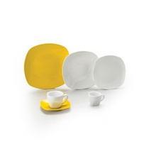 Jogo De Jantar De Porcelana Amarelo Quadrado 2 Peças
