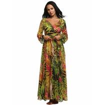 140 Vestido Largo Estampado Unico Varios Colores Moda Verano