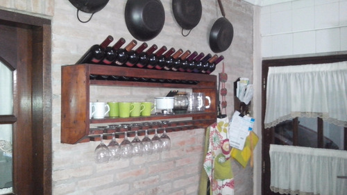 Mueble Botellas De Vinos Y Copas Madera Nueva