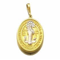 Medalha De Sao Bento Em Ouro Branco E Amarelo 18k J17343