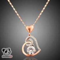 Cadena Corazon Con Cristales Austriacos Oro 18k Aniversario
