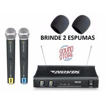 Microfone Novik Sem Fio Unk400 Duplo Mão Uhf + Brindes