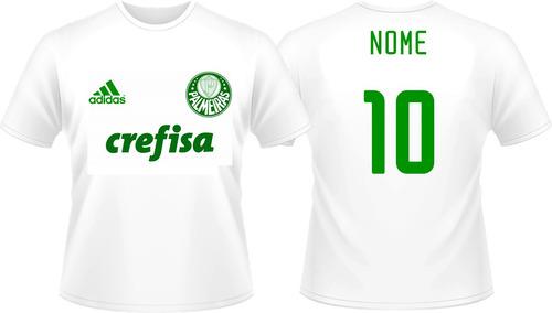 Kit 2 Camisas Palmeiras Personalizada Infantil + Nome - R  66 c6ea080387f51