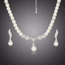 Elegante Set De Imitación E Perlas Joyería De Alta Gama
