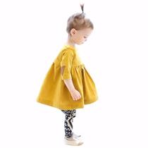 Vestido Manga Larga Amarillo Niña Importado