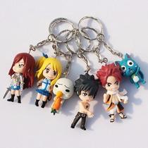 Chaveiro Fairy Tail Natsu Lucy Grey Erza Happy Kit Com 6