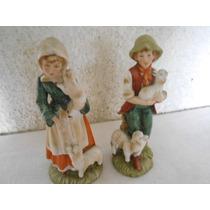 Antiguo Par De Figuras De Porcelana Pastores Japon 20 Cms