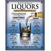 Anuncio Poster Lamina Metal Vino National Liquors Bar 0167