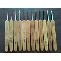 Kit 12 Agulhas Crochê Bambu E Ponta Em Metal- Pronta Entrega
