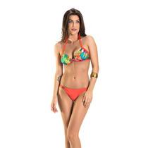 Biquíni Feminino Rosa Tatuada Praia 3 Peças Bojo Bolha 4607
