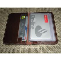 Porta Cartões De Banco / Crédito Em Couro - Cor Pinhão