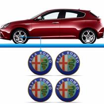 Jogo Emblema Resinado Calota Roda Alfa Romeo 4 Peças Adesivo