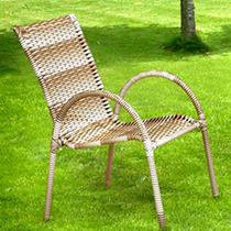 Poltrona Cadeira Rattan Para Jardim Varanda Junco