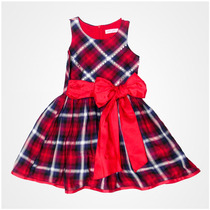 Vestido Para Niña Escocés En Rojo Con Marino