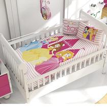 Set Edredon Cuna + Cojin 2 Vistas Cunero Bebe Princesas