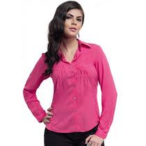 Camisa Detalhe Em Renda Rosa Feminina Principessa Indiara