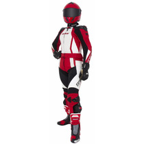 Macacão Couro Moto Feminino Texx Diana 2 Peças Vermelho