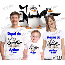 Camiseta Pinguins De Madagascar Personalizada Kit Com 3