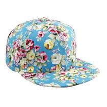 Gorra Snapback Floral Azul Ajustable Unisex Flat Cap Hat