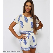 Conjunto Cropped E Shorts Estampa Azulejo Português