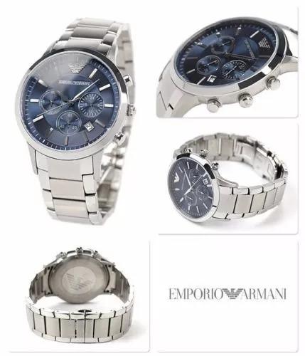 50f5a075b5f32 Relógio Emporio Armani Ar2448 Prata Azul Zwp0944 Promocional - R ...