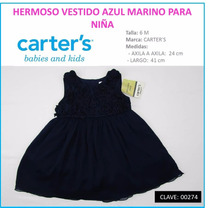 Hermoso Vestido Azul Marino Para Niña Marca Carter