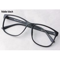 Armação Óculos Vintage Retrô Quadrado Redondo Preto Fosco