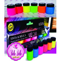 Kit Tinta Nature Colors Neon 6 Cores -luz Negra