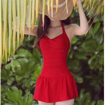 Hermoso Traje De Baño Completo Tipo Vestido Color Rojo