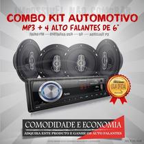 Kit Automotivo Multilaser Mp3 + 4 Auto Falantes De 6 Au950