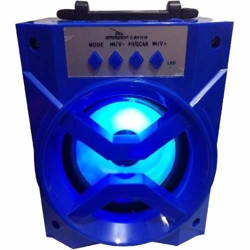 Mini Caixa De Som Grasep D Bh1019 Bluetooth Usb Aux Sd Fm