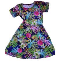 Vestido Estampado Flores Tropical Modal Con Lycra