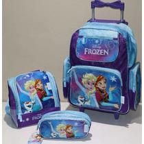 Kit Mochila Infantil Rodinha Frozen + Lancheira Chenson