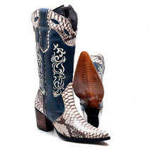 Bota Feminina Texana Country Couro Bovino 5068 Gelo-jeans