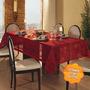 Toalha De Mesa Retangular 6 Lugares Natal Renda Vermelha