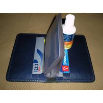 Porta Cartões De Banco / Crédito Em Couro - Cor Azul
