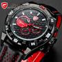 Reloj Shark Shortfin - Rojo Deportivo 6 Agujas Correa Cuero