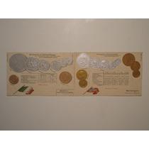 Dois Postais Tema Numismática C/moedas Da Noruega/méxico
