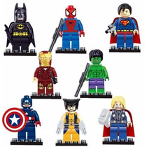 Kit Com 8 Bonecos Lego Wolverine Thor Hulk Batman Superman