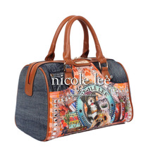 Nicole Lee (original) Emilia Denim Print Boston Bag