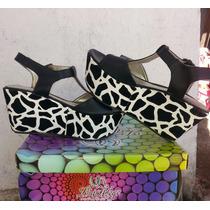 Sandalias Plataformas Zapatos Forradas Cebra De Mujer !!!