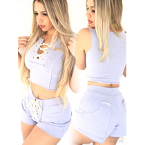 Shorts Blusa Bermuda Moletom Cropeed Academia Femininas Body